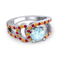 Aquamarine Modern Pave Kandi Ring with Ruby and Citrine in 14k White Gold
