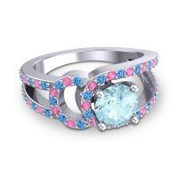 Aquamarine Modern Pave Kandi Ring with Swiss Blue Topaz and Pink Tourmaline in Platinum
