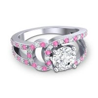 Diamond Modern Pave Kandi Ring with Pink Tourmaline in Platinum