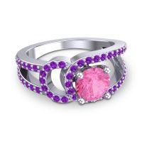 Pink Tourmaline Modern Pave Kandi Ring with Amethyst in 18k White Gold
