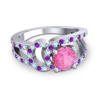 Pink Tourmaline Modern Pave Kandi Ring with Aquamarine and Amethyst in 18k White Gold