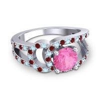 Pink Tourmaline Modern Pave Kandi Ring with Aquamarine and Garnet in 18k White Gold