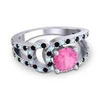 Pink Tourmaline Modern Pave Kandi Ring with Black Onyx and Aquamarine in 14k White Gold