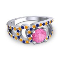 Pink Tourmaline Modern Pave Kandi Ring with Citrine and Blue Sapphire in 18k White Gold