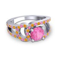 Pink Tourmaline Modern Pave Kandi Ring with Citrine in 14k White Gold
