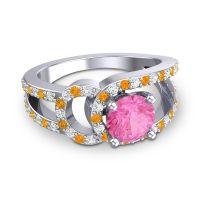 Pink Tourmaline Modern Pave Kandi Ring with Diamond and Citrine in 14k White Gold