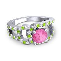 Pink Tourmaline Modern Pave Kandi Ring with Diamond and Peridot in Platinum