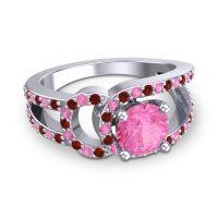 Pink Tourmaline Modern Pave Kandi Ring with Garnet in Palladium