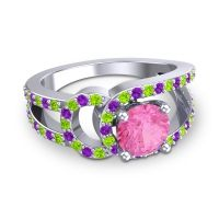 Pink Tourmaline Modern Pave Kandi Ring with Peridot and Amethyst in Platinum