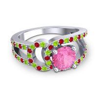 Pink Tourmaline Modern Pave Kandi Ring with Peridot and Ruby in 18k White Gold