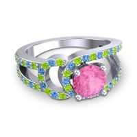 Pink Tourmaline Modern Pave Kandi Ring with Peridot and Swiss Blue Topaz in Platinum