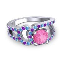 Pink Tourmaline Modern Pave Kandi Ring with Swiss Blue Topaz and Amethyst in Palladium