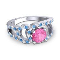Pink Tourmaline Modern Pave Kandi Ring with Swiss Blue Topaz and Diamond in Platinum