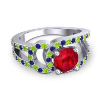 Ruby Modern Pave Kandi Ring with Peridot and Blue Sapphire in 14k White Gold
