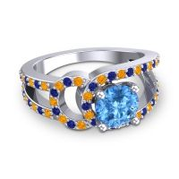 Swiss Blue Topaz Modern Pave Kandi Ring with Citrine and Blue Sapphire in 18k White Gold