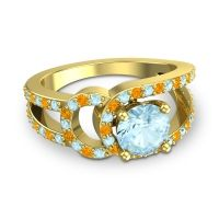 Aquamarine Modern Pave Kandi Ring with Citrine in 14k Yellow Gold