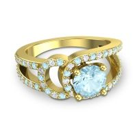Aquamarine Modern Pave Kandi Ring with Diamond in 14k Yellow Gold