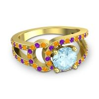 Aquamarine Modern Pave Kandi Ring with Citrine and Amethyst in 18k Yellow Gold