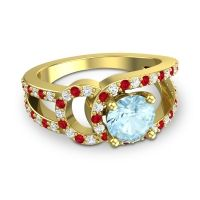 Aquamarine Modern Pave Kandi Ring with Diamond and Ruby in 14k Yellow Gold