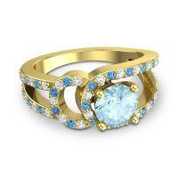 Aquamarine Modern Pave Kandi Ring with Diamond and Swiss Blue Topaz in 14k Yellow Gold