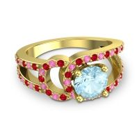 Aquamarine Modern Pave Kandi Ring with Ruby and Pink Tourmaline in 14k Yellow Gold