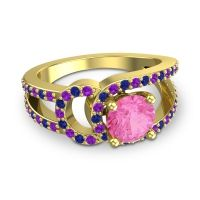 Pink Tourmaline Modern Pave Kandi Ring with Amethyst and Blue Sapphire in 14k Yellow Gold