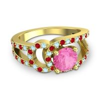Pink Tourmaline Modern Pave Kandi Ring with Aquamarine and Ruby in 14k Yellow Gold