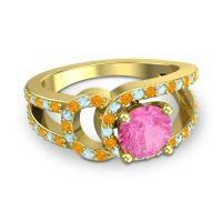 Pink Tourmaline Modern Pave Kandi Ring with Citrine and Aquamarine in 18k Yellow Gold