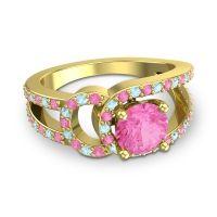 Pink Tourmaline Modern Pave Kandi Ring with Aquamarine in 14k Yellow Gold