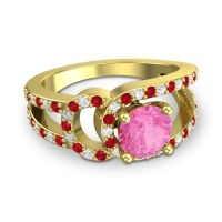 Pink Tourmaline Modern Pave Kandi Ring with Ruby and Diamond in 18k Yellow Gold