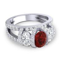 Garnet Three Stone Oval Pave Vapra Ring with Diamond in 14k White Gold