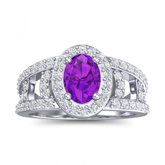 Amethyst Halo Oval Pave Vilasati Ring with Diamond in 14k White Gold