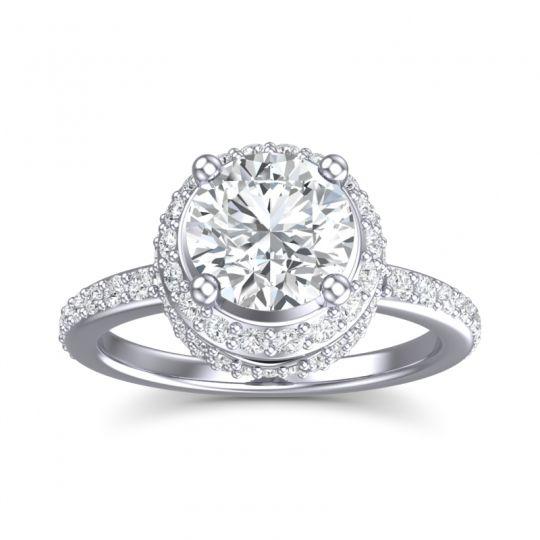 Halo Pave Pave Vasanta Diamond Ring in 14k White Gold