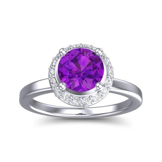 Amethyst Ornate Halo Kavita Ring with Diamond in 14k White Gold