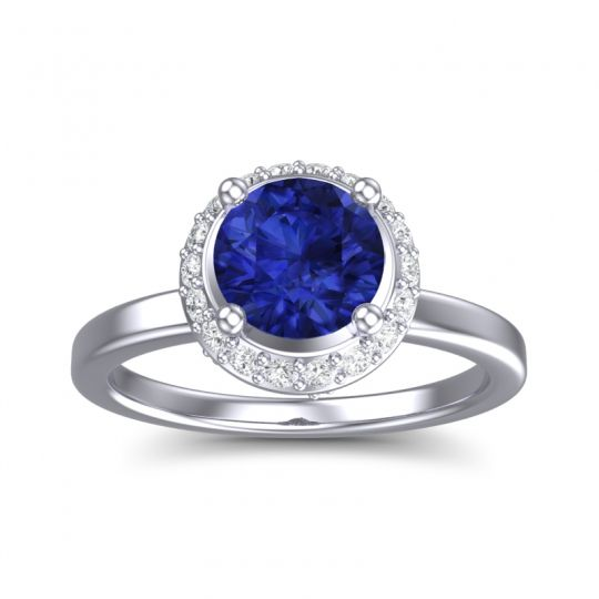 Blue Sapphire Ornate Halo Kavita Ring with Diamond in 14k White Gold