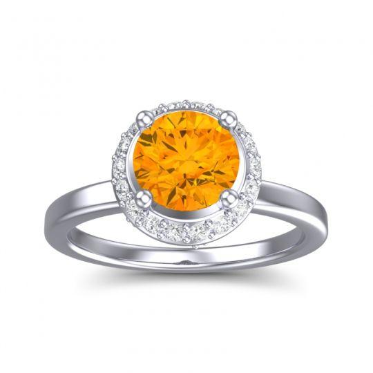 Citrine Ornate Halo Kavita Ring with Diamond in 14k White Gold