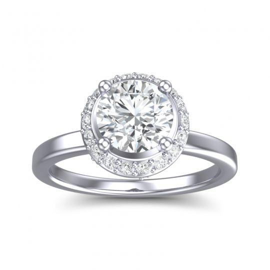 Diamond Ornate Halo Kavita Ring in 14k White Gold