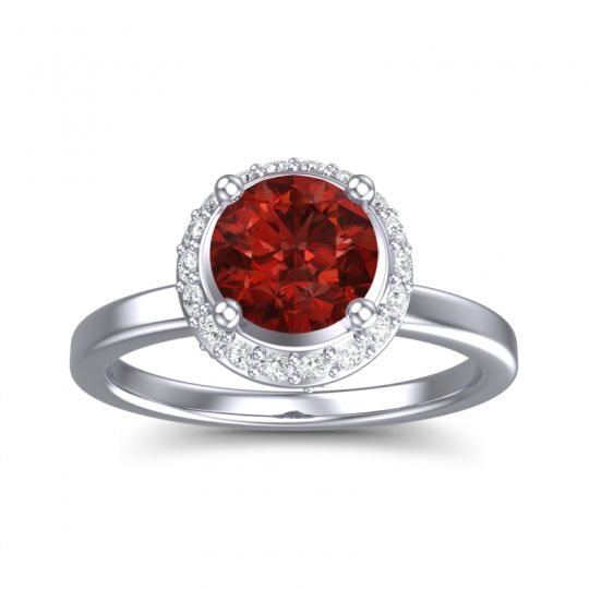 Garnet Ornate Halo Kavita Ring with Diamond in 14k White Gold