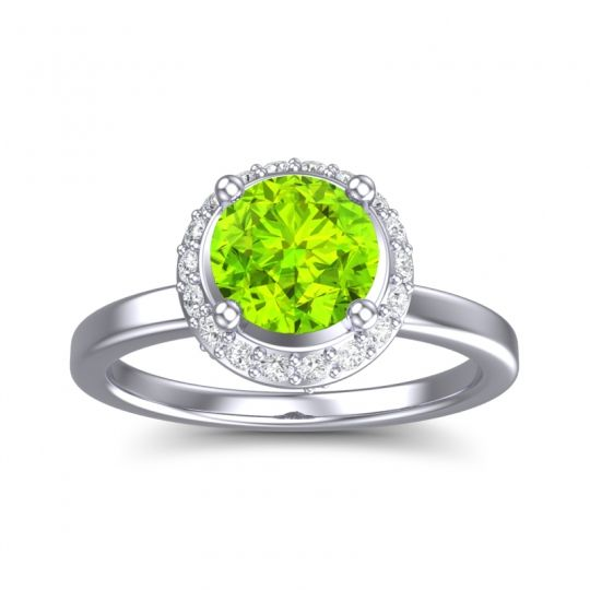 Peridot Ornate Halo Kavita Ring with Diamond in 14k White Gold
