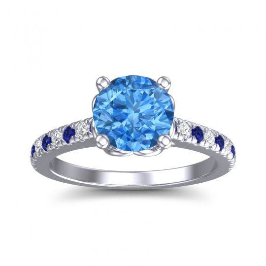 Swiss Blue Topaz Cathedral Amra Ring with Blue Sapphire and Diamond in 14k White Gold
