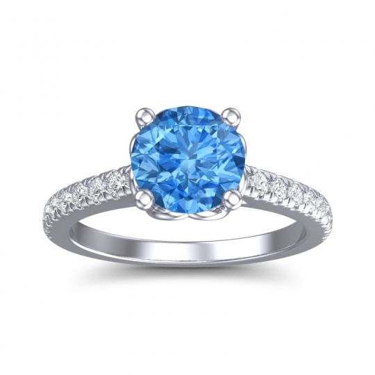 Swiss Blue Topaz Cathedral Amra Ring with Diamond in 14k White Gold