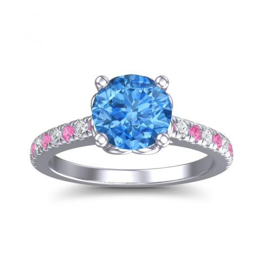 Swiss Blue Topaz Cathedral Amra Ring with Pink Tourmaline and Diamond in 14k White Gold