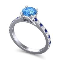 Cathedral Amra Swiss Blue Topaz Ring with Blue Sapphire and Diamond in 14k White Gold