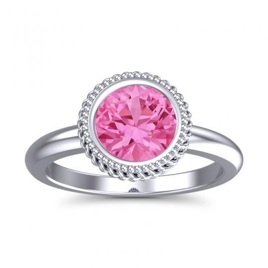 Pink Tourmaline Bezel Solitaire Kavaca Ring in 14k White Gold