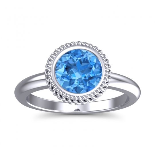 Swiss Blue Topaz Bezel Solitaire Kavaca Ring in 18k White Gold