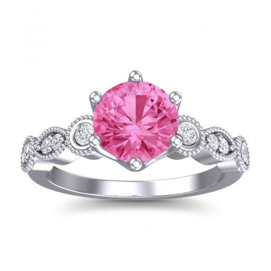 Pink Tourmaline Art Deco Daiva Ring with Diamond in 14k White Gold