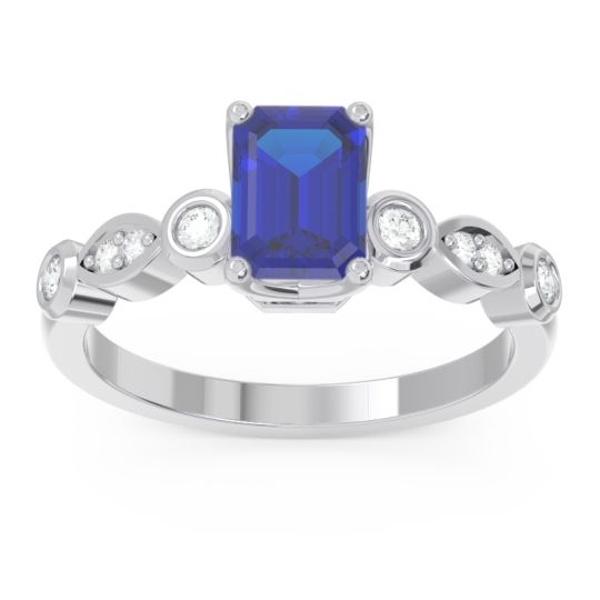 Art Deco Milgrain Emerald Cut Sarva Blue Sapphire Ring with Diamond in 14k White Gold