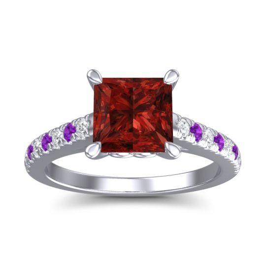 Garnet Princess Cut Vara Ring with Diamond and Amethyst in 14k White Gold