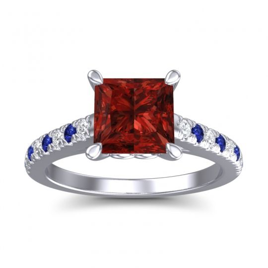 Garnet Princess Cut Vara Ring with Diamond and Blue Sapphire in 14k White Gold