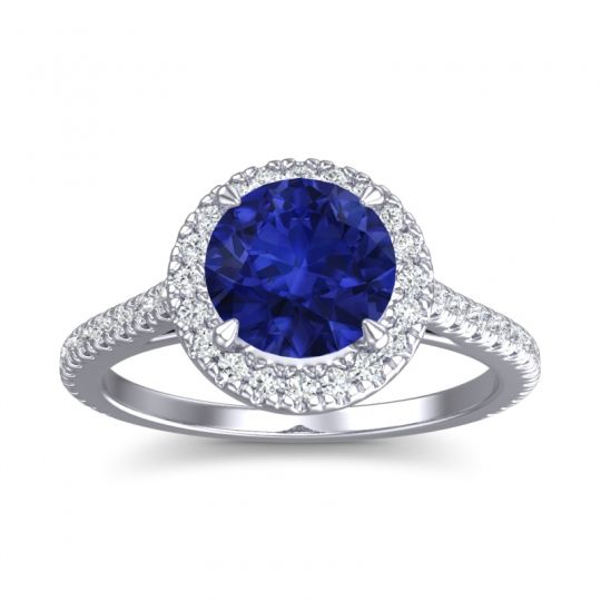 Blue Sapphire Halo Zalka Ring with Diamond in 14k White Gold